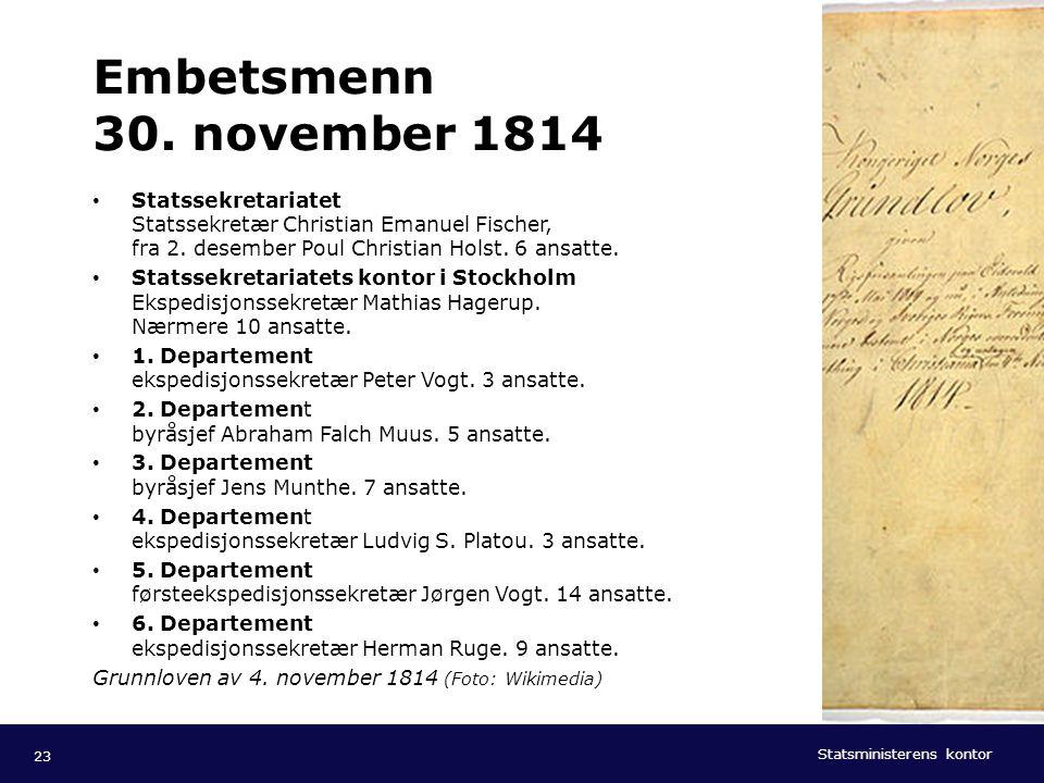 Embetsmenn 30. november 1814 Statssekretariatet Statssekretær Christian Emanuel Fischer, fra 2. desember Poul Christian Holst. 6 ansatte.