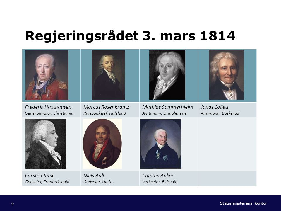 Regjeringsrådet 3. mars 1814 Frederik Haxthausen Generalmajor, Christiania. Marcus Rosenkrantz Rigsbanksjef, Hafslund.