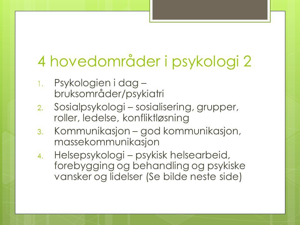 4 hovedområder i psykologi 2