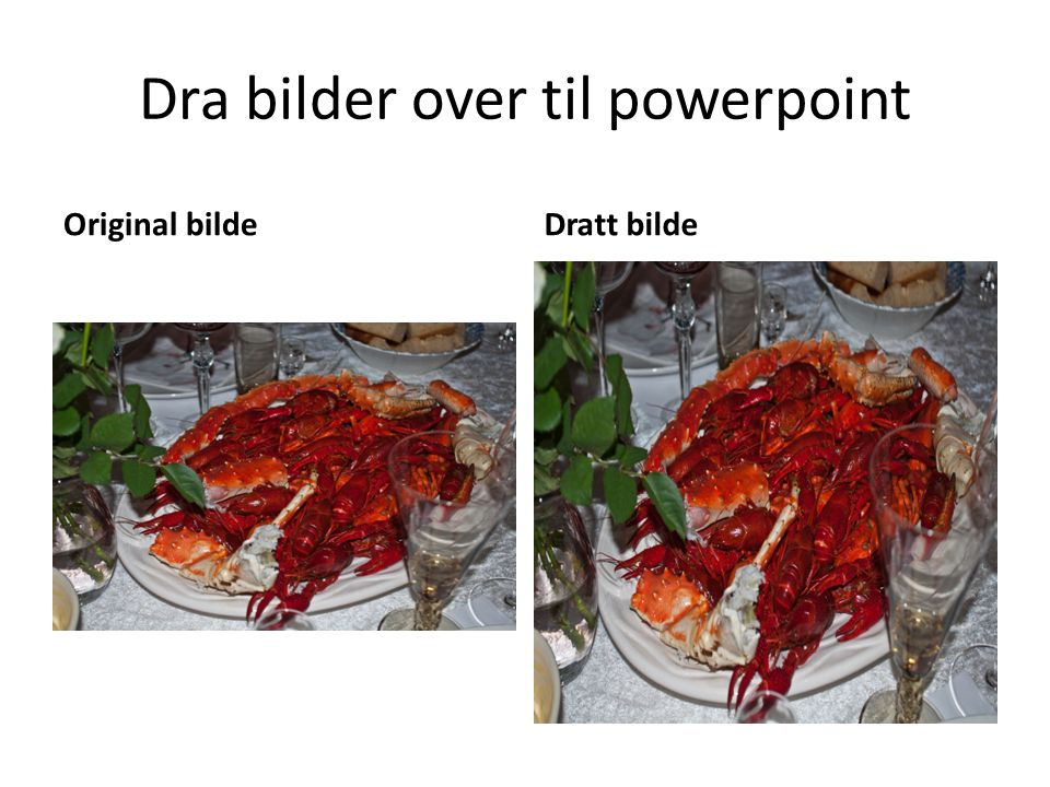 Dra bilder over til powerpoint