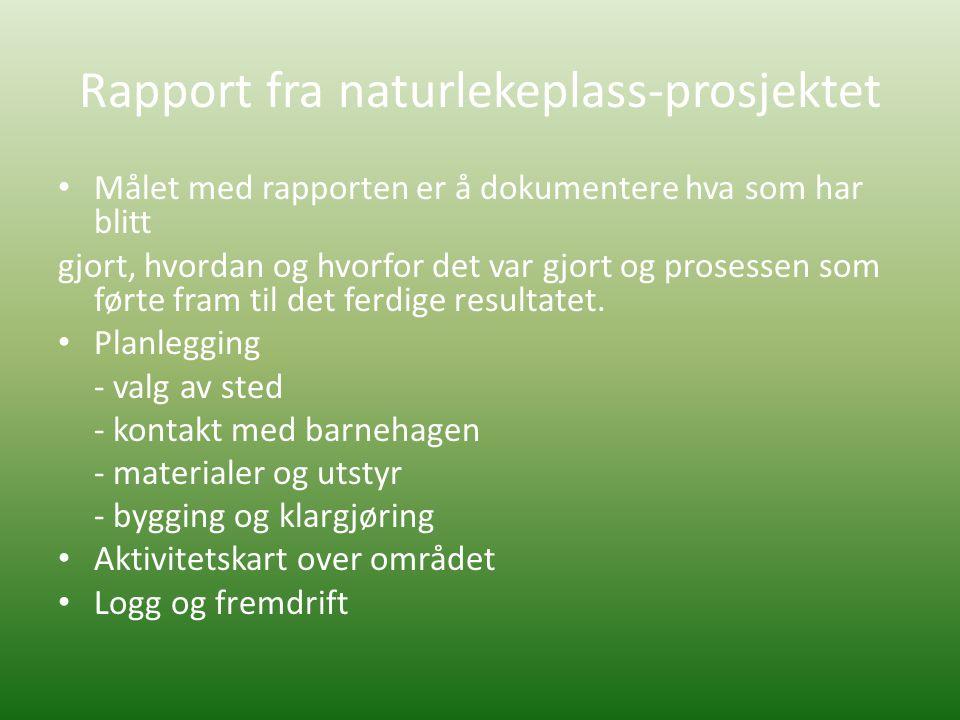 Rapport fra naturlekeplass-prosjektet