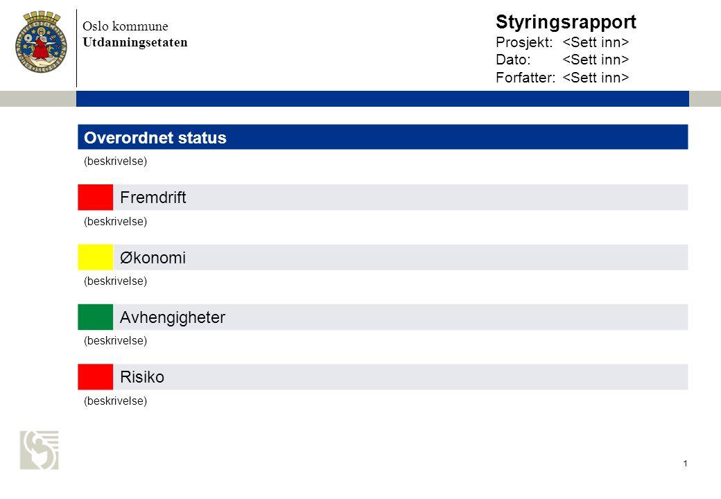 Styringsrapport Prosjekt:. <Sett inn> Dato: