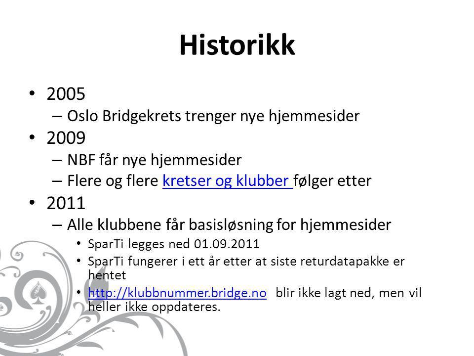 Historikk 2005 2009 2011 Oslo Bridgekrets trenger nye hjemmesider