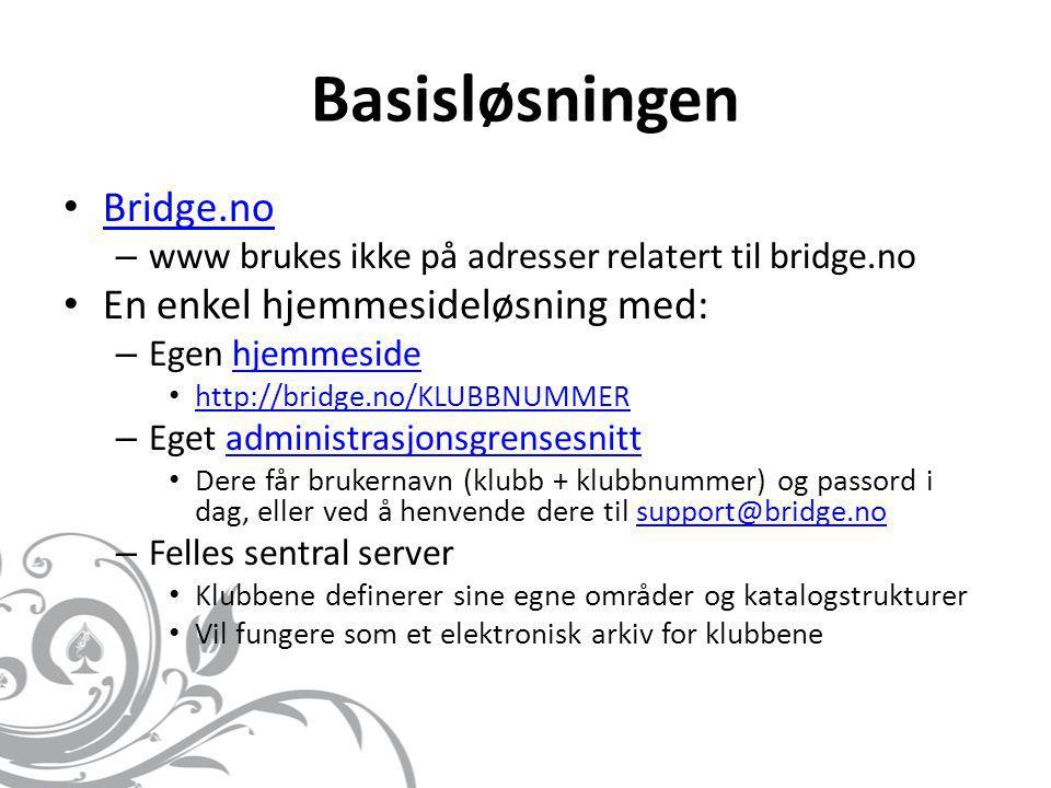 Basisløsningen Bridge.no En enkel hjemmesideløsning med: