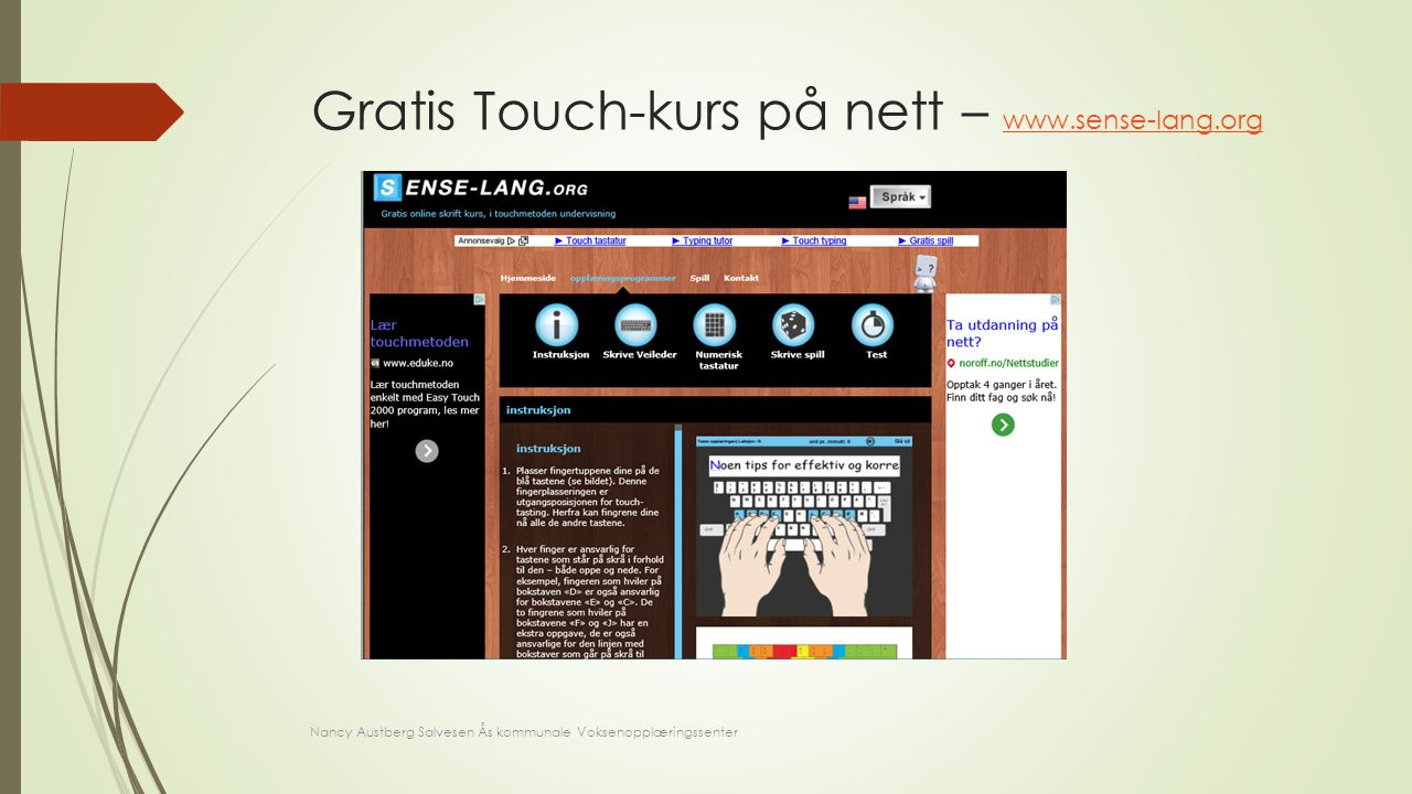 Gratis Touch-kurs på nett – www.sense-lang.org