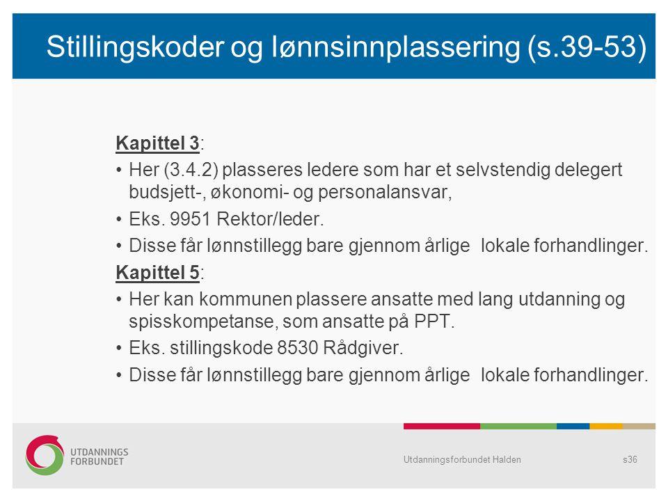 Stillingskoder og lønnsinnplassering (s.39-53)