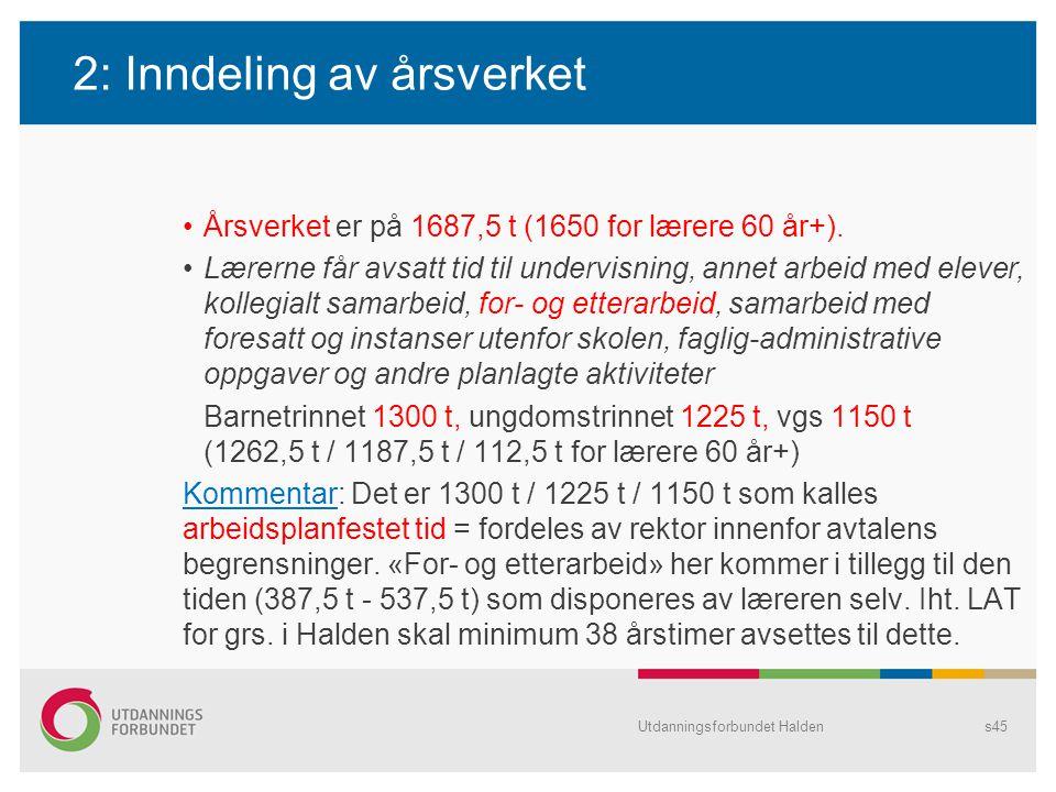 2: Inndeling av årsverket