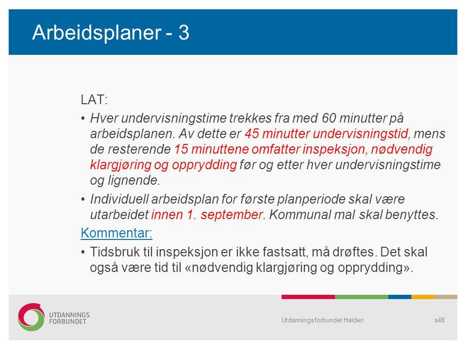 Arbeidsplaner - 3 LAT: