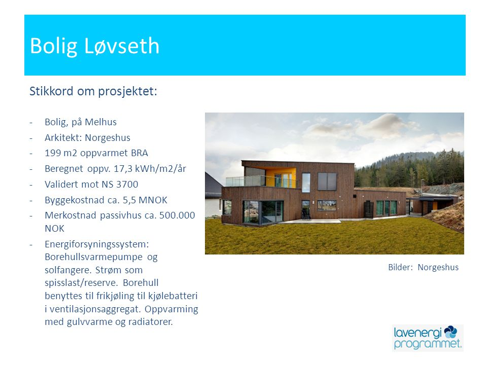 Bolig Løvseth Stikkord om prosjektet: Bolig, på Melhus