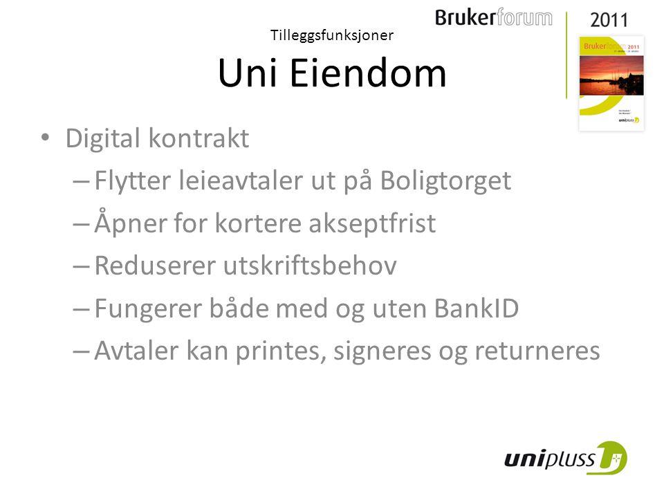 Tilleggsfunksjoner Uni Eiendom