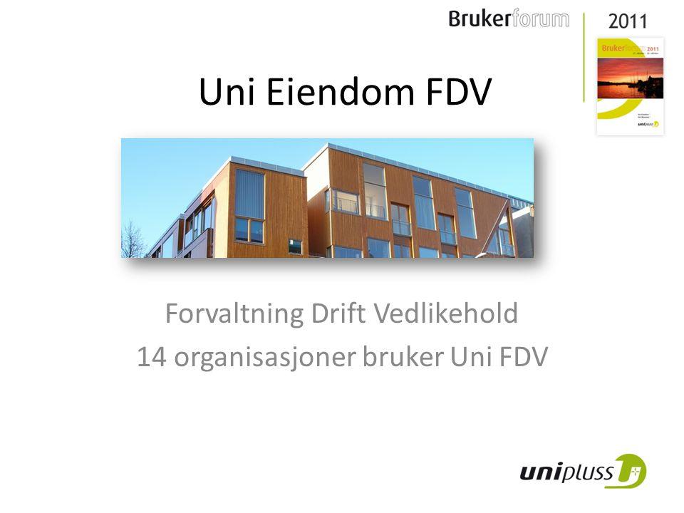 Forvaltning Drift Vedlikehold 14 organisasjoner bruker Uni FDV