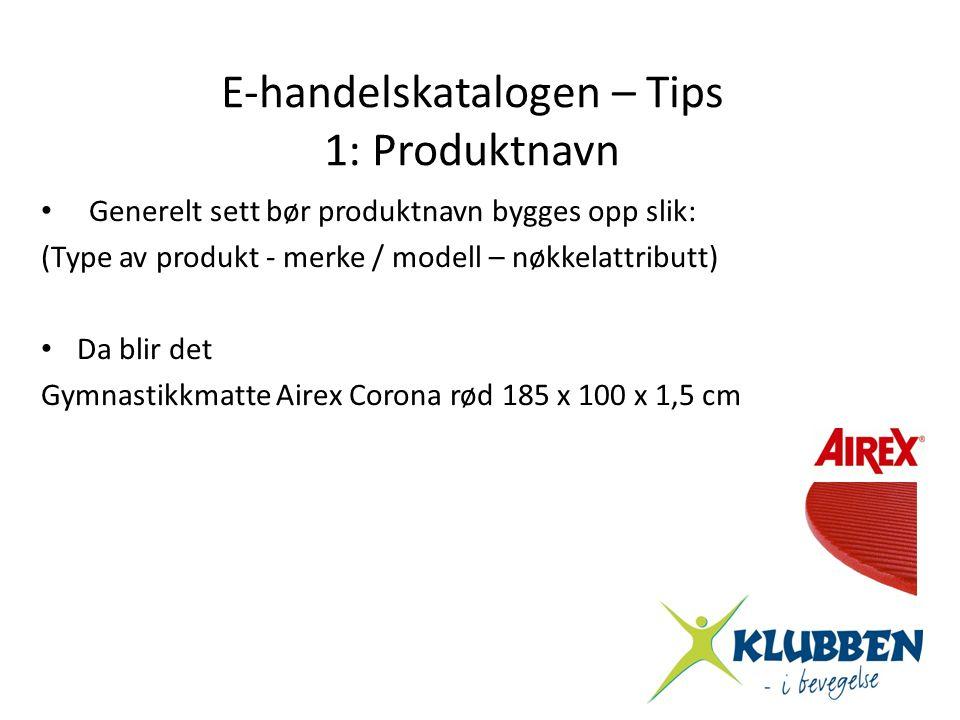 E-handelskatalogen – Tips 1: Produktnavn