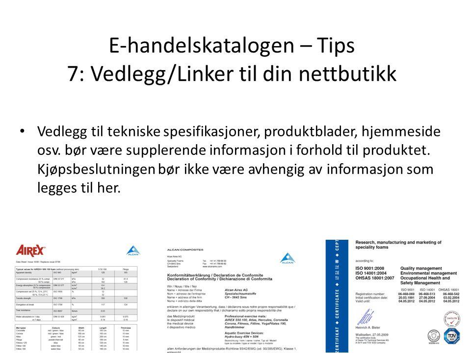 E-handelskatalogen – Tips 7: Vedlegg/Linker til din nettbutikk