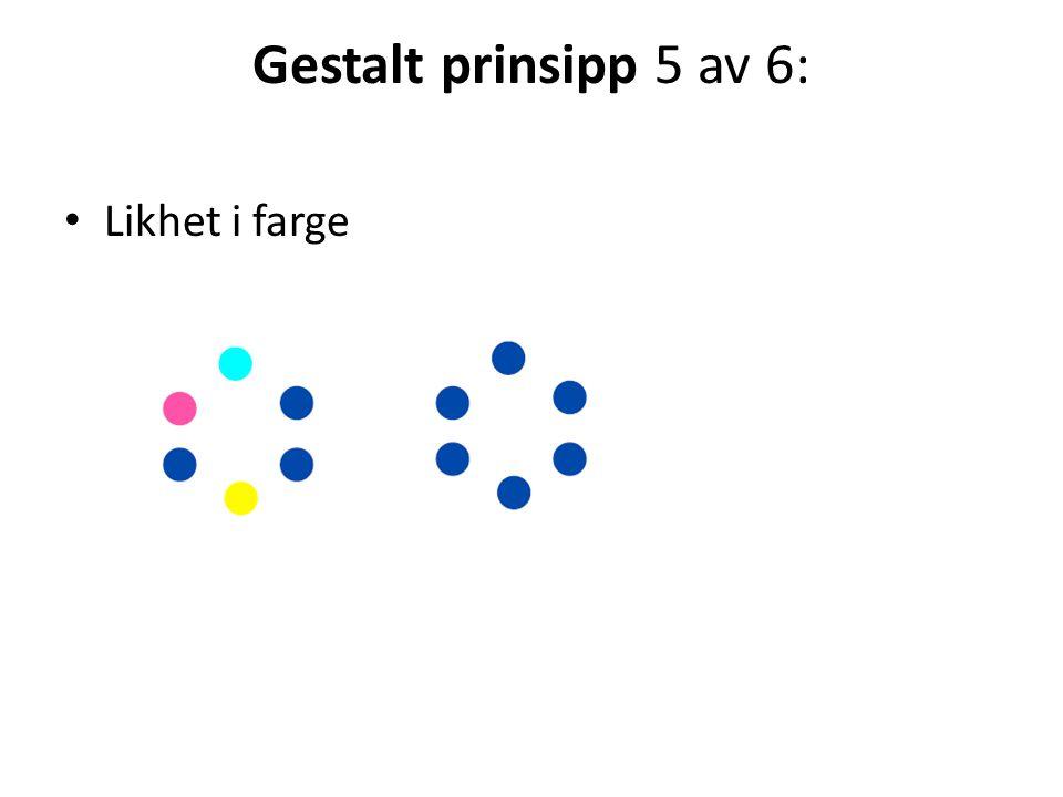 Gestalt prinsipp 5 av 6: Likhet i farge