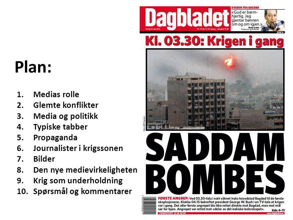 Plan: Medias rolle Glemte konflikter Media og politikk Typiske tabber
