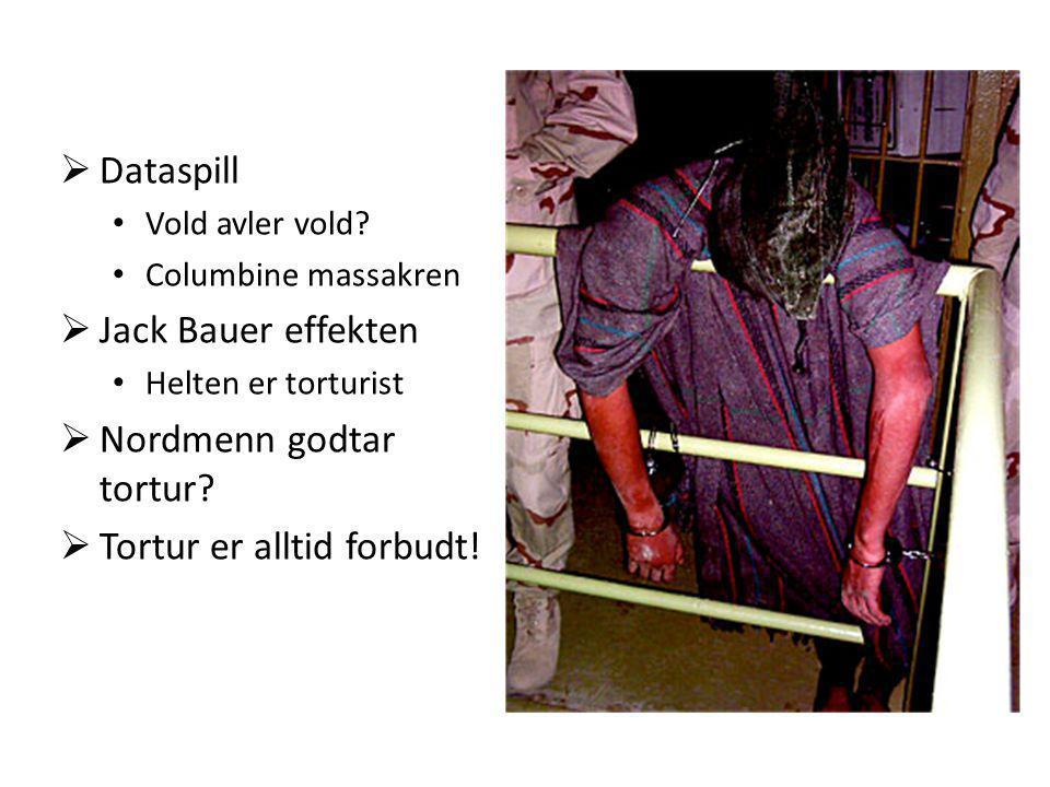 Nordmenn godtar tortur Tortur er alltid forbudt!