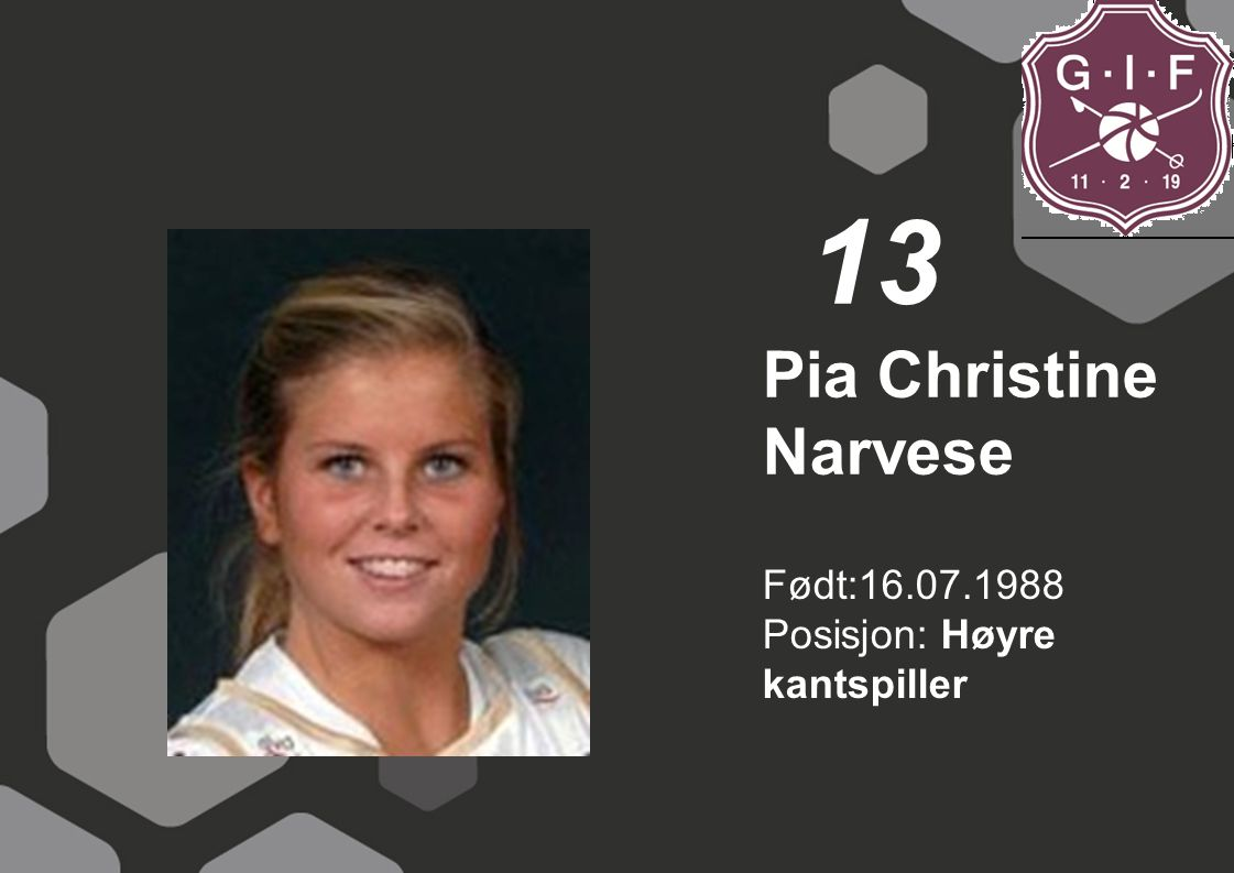 13 Pia Christine Narvese Født:16.07.1988 Posisjon: Høyre kantspiller