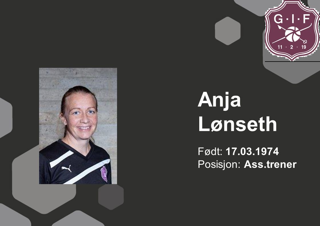 Anja Lønseth Født: 17.03.1974 Posisjon: Ass.trener