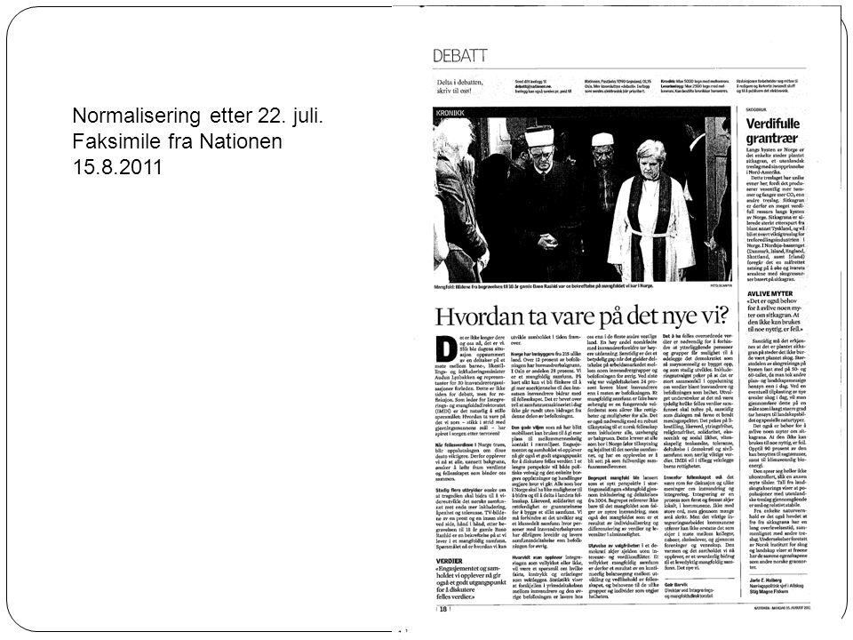 Normalisering etter 22. juli. Faksimile fra Nationen 15.8.2011