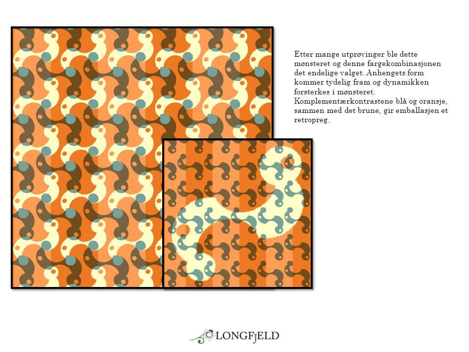 Etter mange utprøvinger ble dette mønsteret og denne fargekombinasjonen det endelige valget.