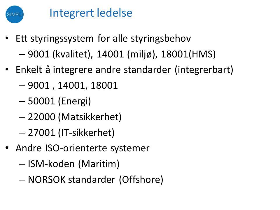 Integrert ledelse Ett styringssystem for alle styringsbehov