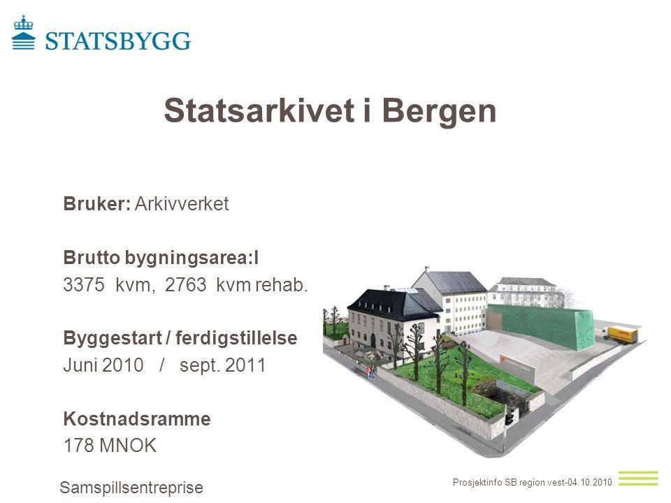 Statsarkivet i Bergen Bruker: Arkivverket Brutto bygningsarea:l