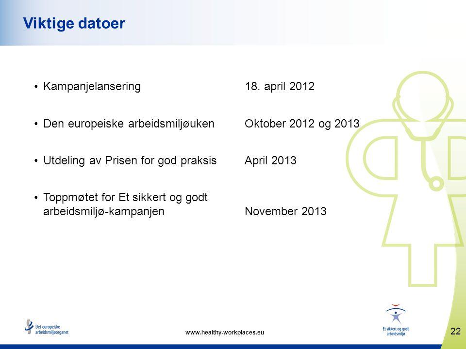 Viktige datoer Kampanjelansering 18. april 2012