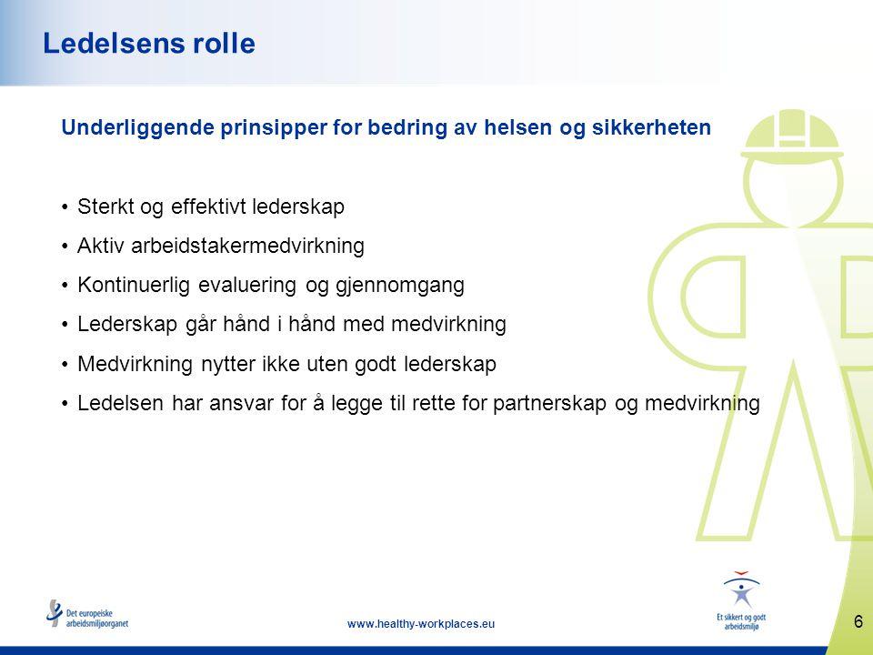 Ledelsens rolle Underliggende prinsipper for bedring av helsen og sikkerheten. Sterkt og effektivt lederskap.