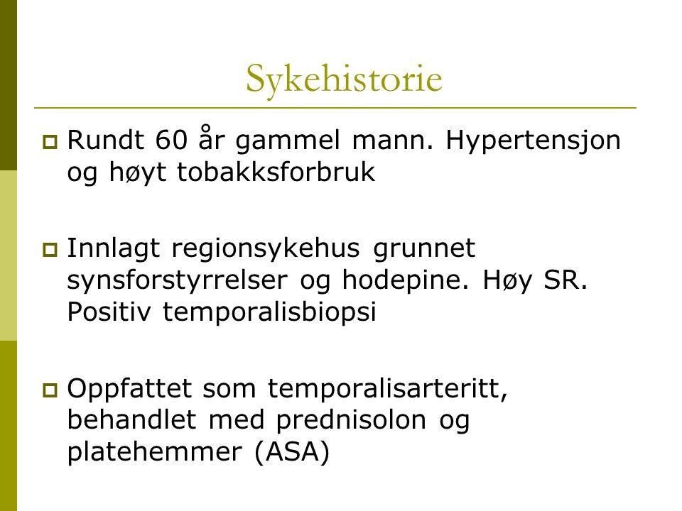Sykehistorie Rundt 60 år gammel mann. Hypertensjon og høyt tobakksforbruk.