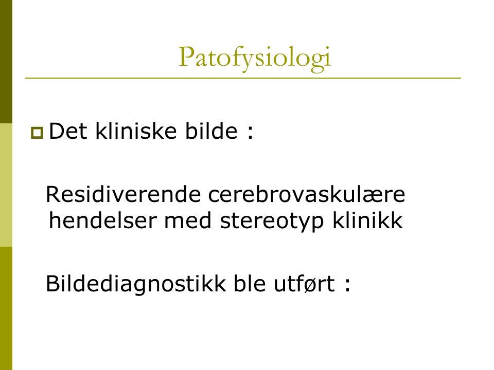 Patofysiologi Det kliniske bilde :