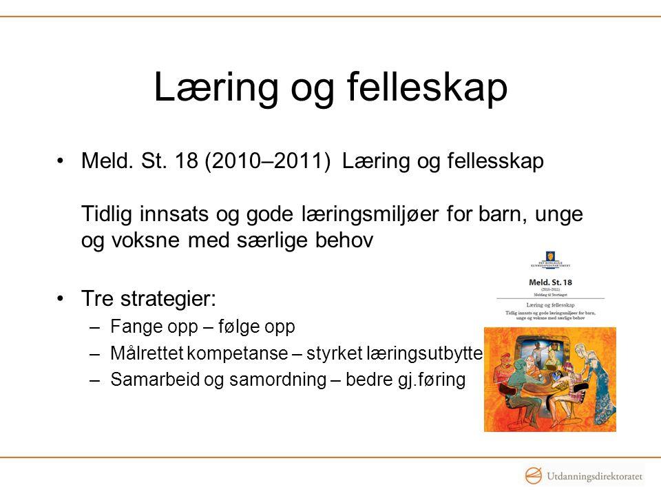 Læring og felleskap Meld. St. 18 (2010–2011) Læring og fellesskap Tidlig innsats og gode læringsmiljøer for barn, unge og voksne med særlige behov.