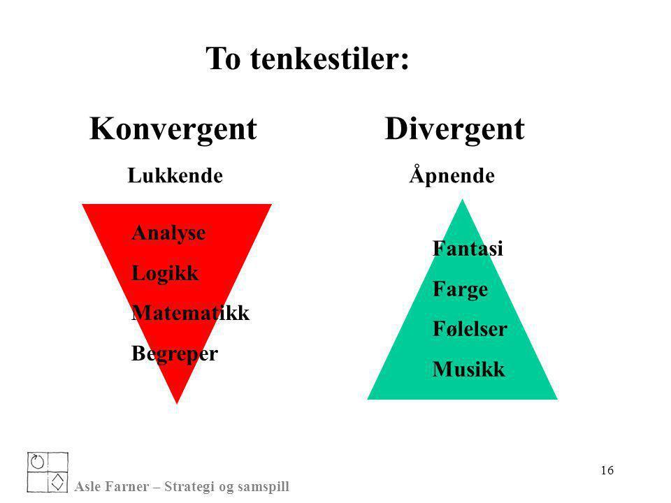 To tenkestiler: Konvergent Divergent Lukkende Åpnende Analyse Logikk