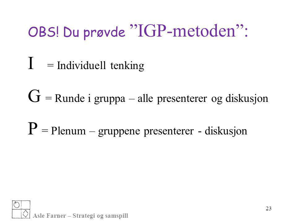 I = Individuell tenking