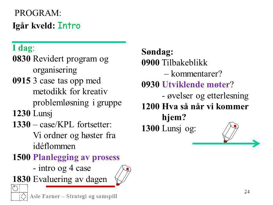 problemløsning i gruppe 1230 Lunsj 1330 – case/KPL fortsetter: