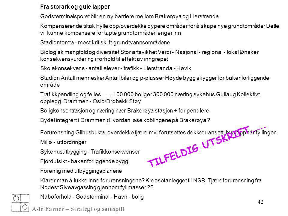 TILFELDIG UTSKRIFT……. Asle Farner – Strategi og samspill