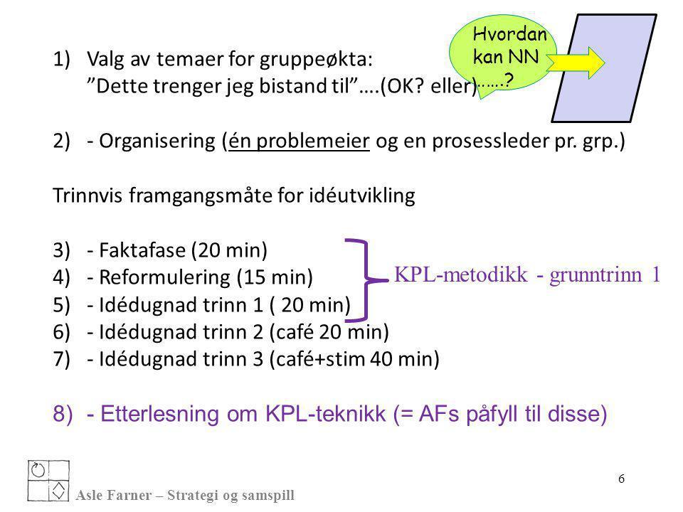 - Organisering (én problemeier og en prosessleder pr. grp.)