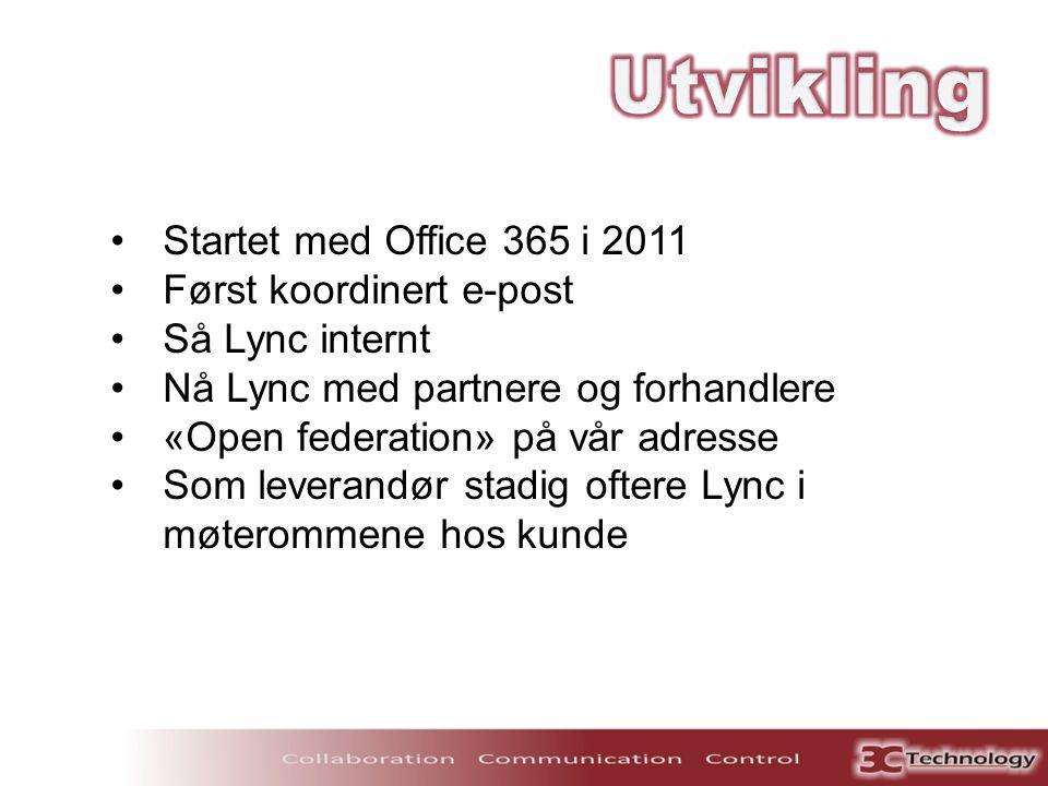 Utvikling Startet med Office 365 i 2011 Først koordinert e-post