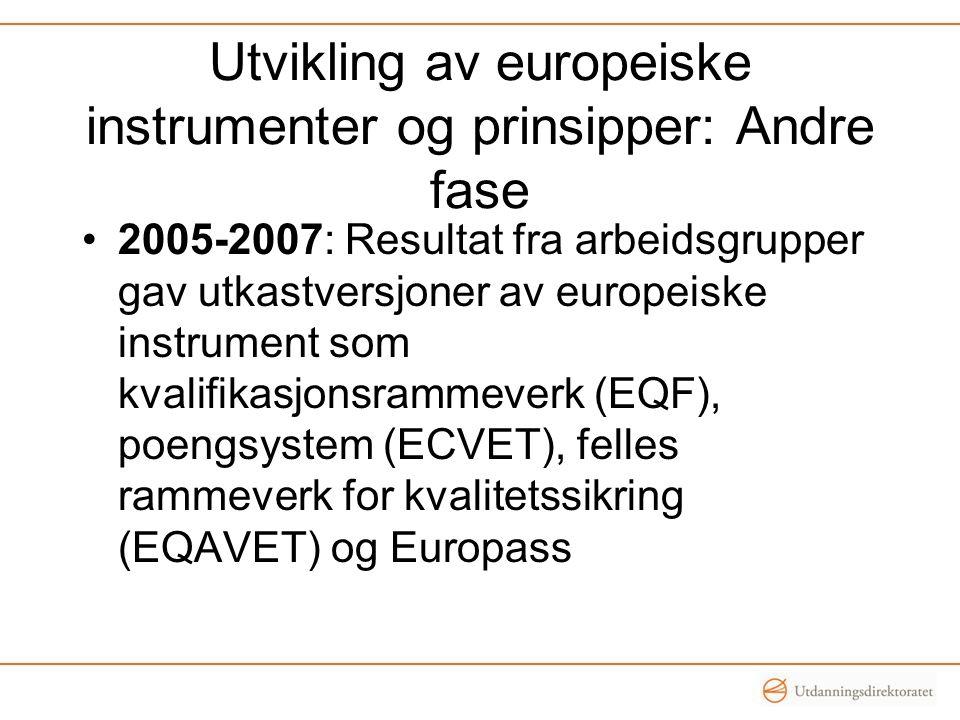 Utvikling av europeiske instrumenter og prinsipper: Andre fase