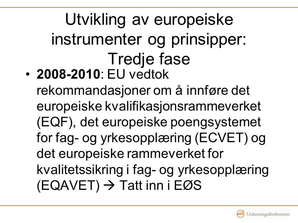 Utvikling av europeiske instrumenter og prinsipper: Tredje fase