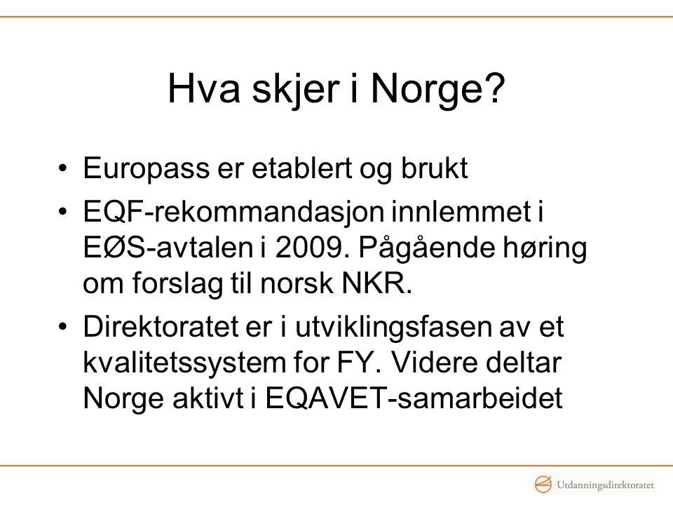 Hva skjer i Norge Europass er etablert og brukt
