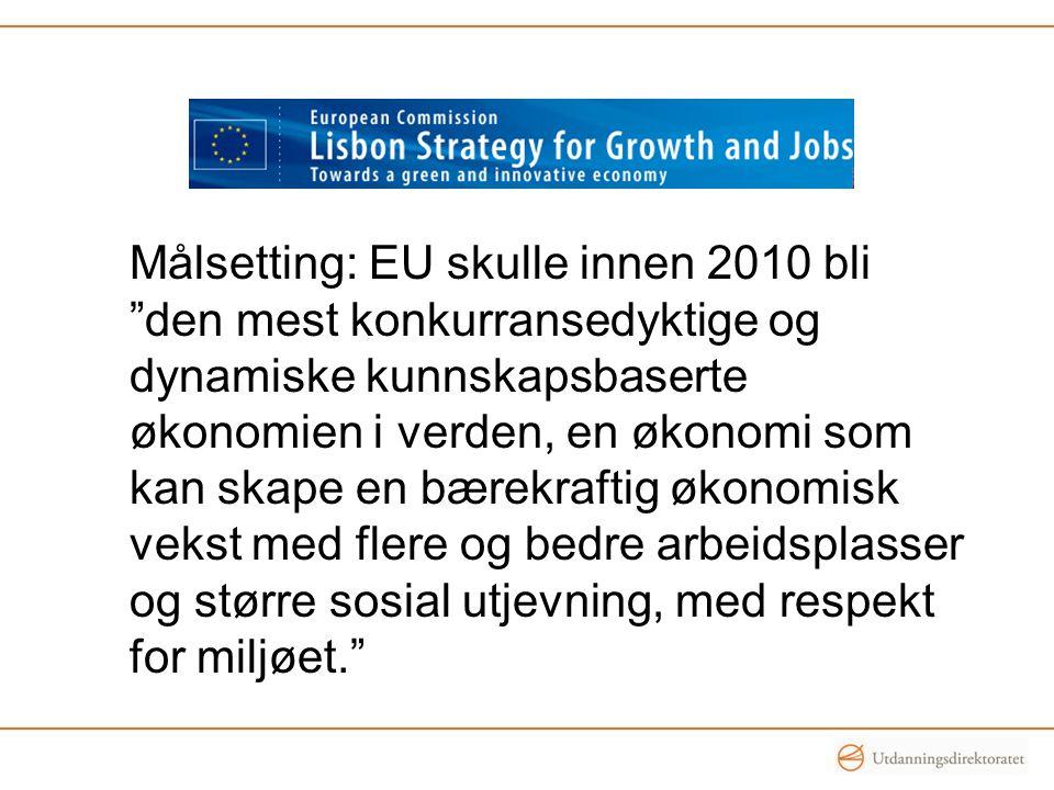 Målsetting: EU skulle innen 2010 bli den mest konkurransedyktige og dynamiske kunnskapsbaserte økonomien i verden, en økonomi som kan skape en bærekraftig økonomisk vekst med flere og bedre arbeidsplasser og større sosial utjevning, med respekt for miljøet.