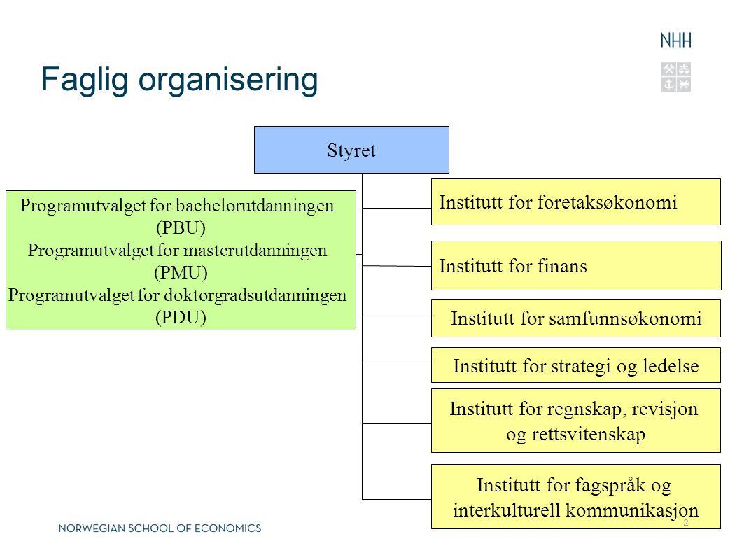 Faglig organisering Styret Institutt for foretaksøkonomi