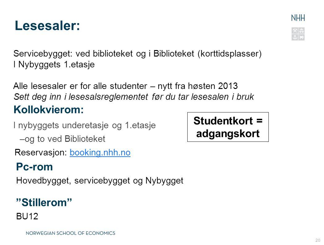 Studentkort = adgangskort