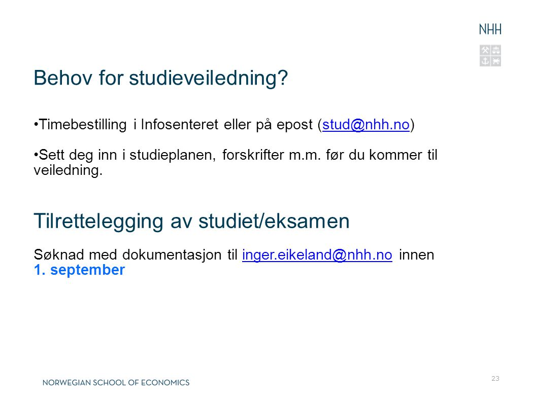Behov for studieveiledning