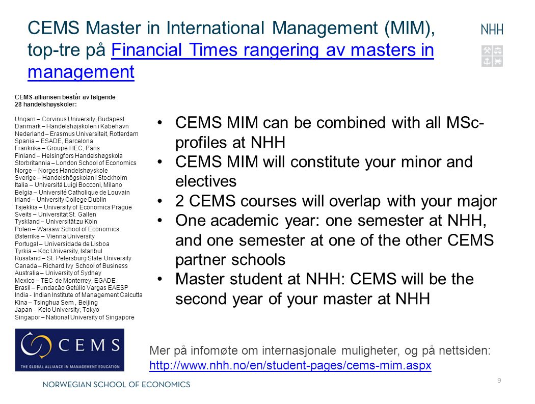 CEMS Master in International Management (MIM), top-tre på Financial Times rangering av masters in management