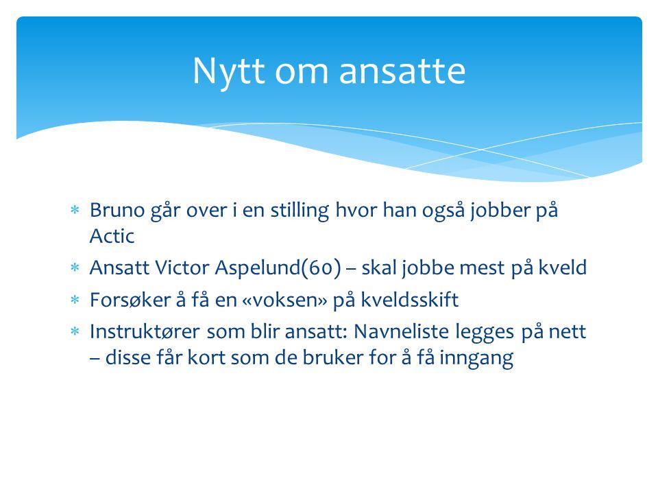Nytt om ansatte Bruno går over i en stilling hvor han også jobber på Actic. Ansatt Victor Aspelund(60) – skal jobbe mest på kveld.
