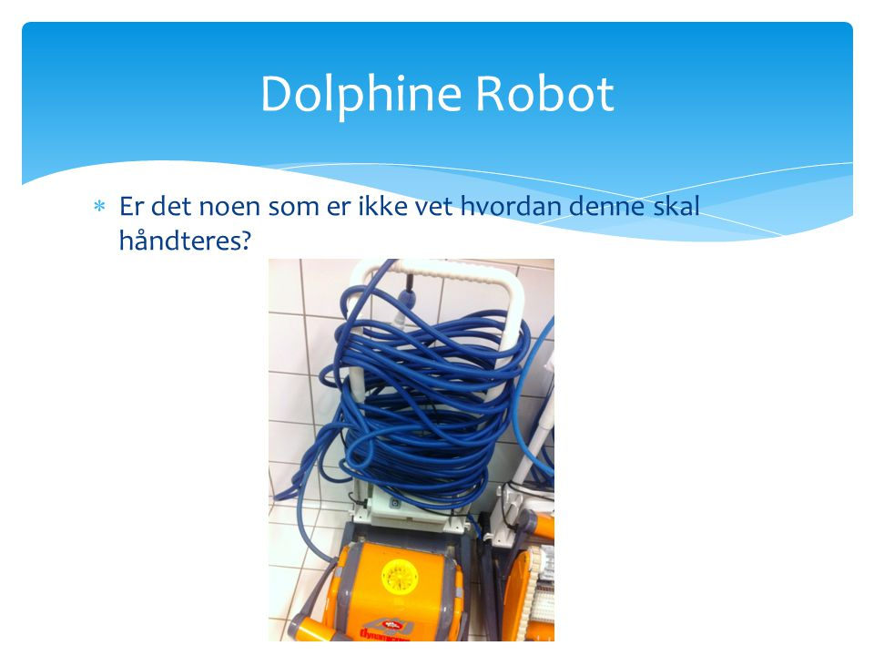 Dolphine Robot Er det noen som er ikke vet hvordan denne skal håndteres