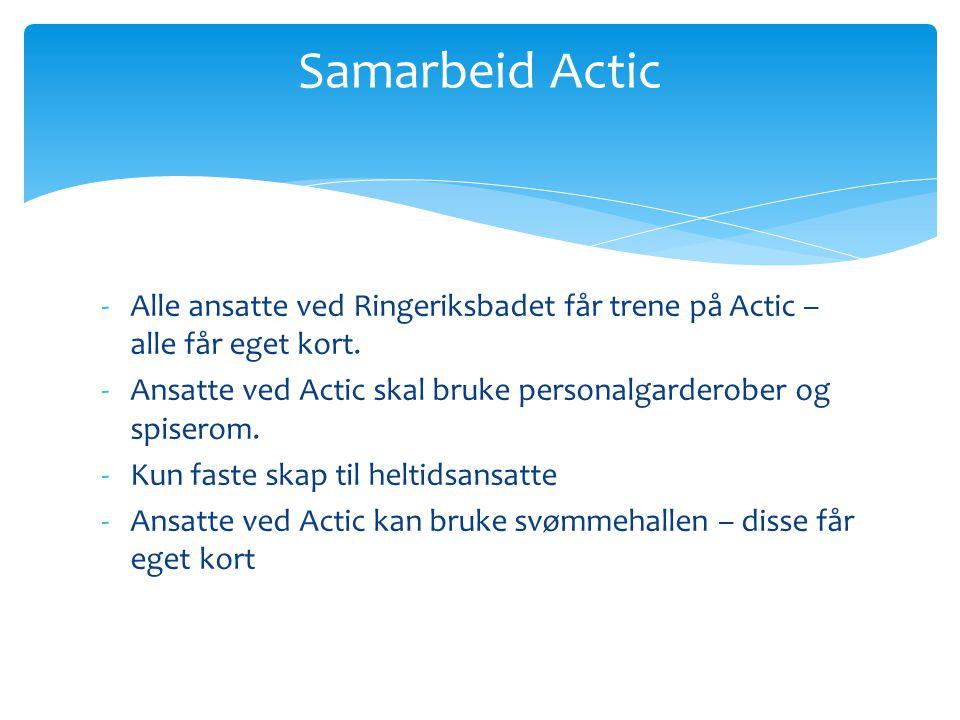 Samarbeid Actic Alle ansatte ved Ringeriksbadet får trene på Actic – alle får eget kort.