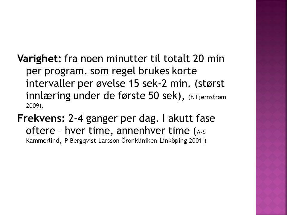 Varighet: fra noen minutter til totalt 20 min per program