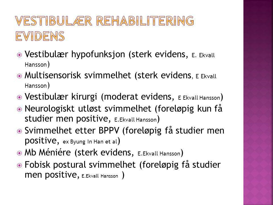 Vestibulær rehabilitering Evidens